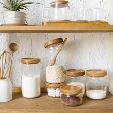 an z style glass e jar kitchen canisters cookie jars wooden lid 3 pieces es storage box candy jar high quality in storage bottles jars from