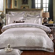 white silver color jacquard luxury bedding sets 4 queen king size lace cotton stain bed set bed linen duvet cover pillow quilt sets queen bedding collection