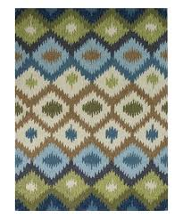 blue green geo piazza indoor outdoor rug