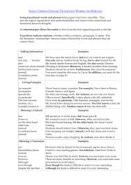 Transition Essay Examples Transition Words And Phrases