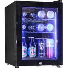 black mini bar fridge with glass door