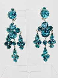 vintage turquoise rhinestone chandelier clip back earrings austria 1960s in excellent condition for in west