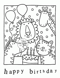 Happy Birthday In The Zoo Coloring
