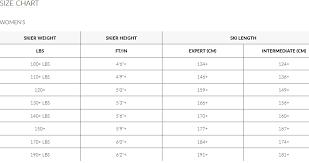 K2 Ski Size Chart Women S 77 Bright Womens Ski Length Chart