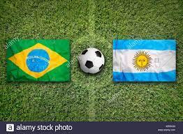 Brazil vs. Argentina flags on soccer ...