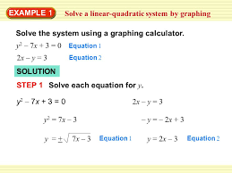 example 1 solve a linear quadratic system by graphing solve the system using a graphing