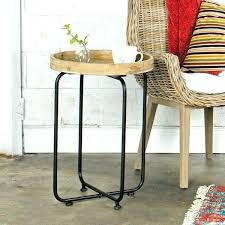 round wood and metal end table side table small round metal outdoor side table round metal