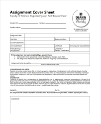 Cover For Assignment Template Sample Assignment Sheet Template 9 Free Documents
