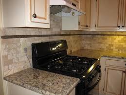 Simple Kitchen Design with Natural Tumbled Stone Subway Tile Backsplash,  Black Stove Cabinet Appliance,