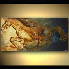 original abstract art paintings by osnat painting of pegasus horse running