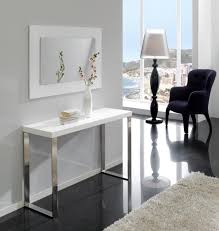 modern console in white high gloss and chrome with an opt mirror