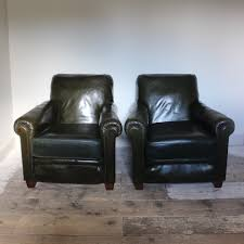 Pair Of 1940s Vintage Leather Armchairs Antique Leather Sofa T10