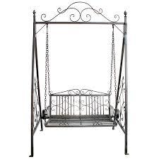 charles bentley garden wrought iron swing seat outdoor patio garden hammock bench grey robert dyas