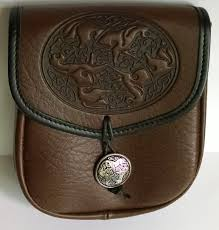 celtic horses leather belt pouch medium