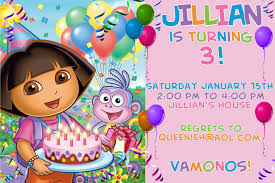 interesting rd birthday party invitation card dora the birthday party invitation r tic kids birthday invitation template pink color and black letterings