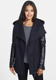 mackage odelia leather sleeve hooded wool blend coat