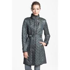 Cole Haan Leather Trim Belted Quilted Coat Medium - Polyvore & Cole Haan Leather Trim Belted Quilted Coat Medium Adamdwight.com