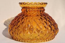 vintage amber glass lamp shade quilted diamond quilt pattern fenton lampshade