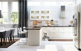 ikea kitchen design with undermounted kitchen sink and glass door wall cabinet also wall utensil rack plus side by side refrigerator