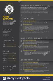 Vector Dark Minimalist Cv Resume Template With Yellow Accent And