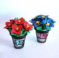 Paper Origami Flower Bouquet Tiny Origami Flower Bouquet Paper Flowers Table Decor Unique Wedding