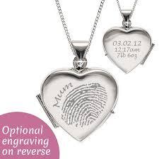personalised sterling silver fingerprint locket necklace