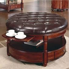 impressive round leather coffee table ottoman with amazing round leather coffee table round storage ottoman brown