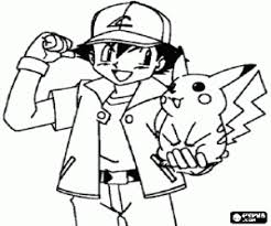 Pikachu And Ash From Pokemon Coloring Page Printable Game