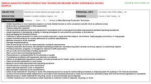manufacturing production technician job resume