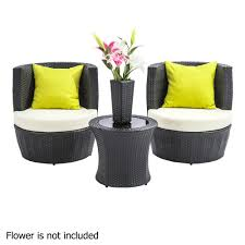 black outdoor wicker chairs. Stackable 4 Pcs Black Wicker Rattan 2 Seater Outdoor Furniture Set Grey - Wholesales Direct Chairs