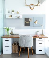 ikea home office design. Balance A Wooden Board Across Two IKEA Storage Cabinets, And Boom\u2014you Have An Instant Desk With Plenty Of Room To Stash Your Office Supplies. Ikea Home Design