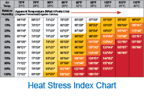 Heat Exhaustion Heat Stroke Chart Heat Stress Prevention Products Services And Resources
