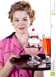 Ice Cream Server Vintage Style Waitress Serving Ice Cream Stock Photo Image Of