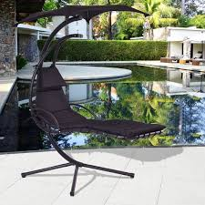 costway black hanging chaise lounge chair arc stand air porch swing hammock chair canopy