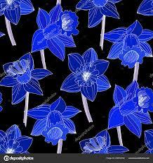 Vector Narcissus Bloemen Blauwe Gegraveerde Inkt Art Naadloze