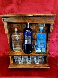 rustic wooden wall bar