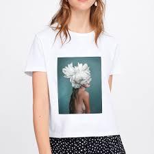 Plus Size Vogue <b>Women</b> Print Casual T <b>shirt</b> Lady Flowers Feather ...