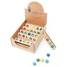 Wooden Game With Marbles Local made Earth marbles made in France 80