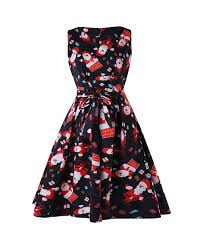 <b>Christmas Santa Print</b> A Line Dress - Multi - 3F07919016 Size S ...