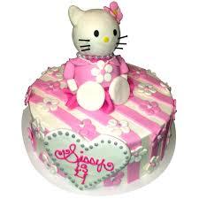 Hello Kitty Birthday Cake With White Pink Fondant Stripes Also