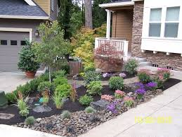 Landscape, Astonishing Colourful Square Modern Stone Landscaping Ideas For  Small Front Yard Ornamental Small Black