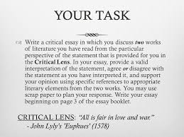 goals learn how to write a critical lens essay introductions your taskyour task iuml130153 write a critical essay in which you discuss two works of literature