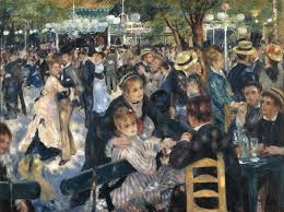 the 19th century painting by renoir portrays working class people dressed up and enjoying a sunday afternoon at the moulin de