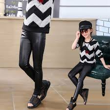toddler kids girls pu leather pants baby stretch trousers skinny leggings 3 12y
