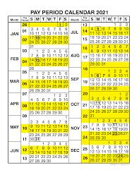 Pay Period Calendar 2021 By Calendar Year Free Printable