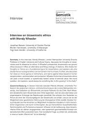 PDF) Interview on biosemiotic ethics with Wendy Wheeler