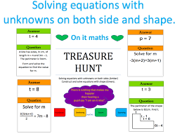 solving equations with unknowns on both sides shape treasure hunt by onitmaths teaching resources tes