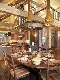 Interior:Rustic Log Cabin Interior Design With Natural Stone Wall Ideas  Rustic Victorian Dining Room