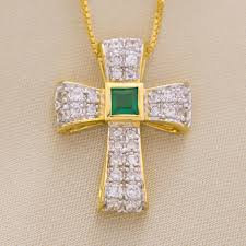 an image relevant to this listing sterling silver 18k yellow gold plate simulated emerald and simulated diamond cross pendant