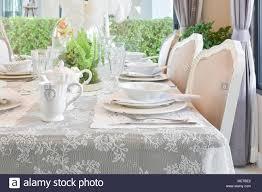 Elegante Tisch Im Vintage Stil Esszimmer Interieur Stockfoto